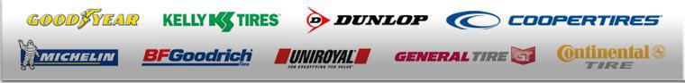 We carry products from Goodyear, Kelly, Dunlop, Cooper, Michelin®, BFGoodrich®, Uniroyal®, General, and Continental.