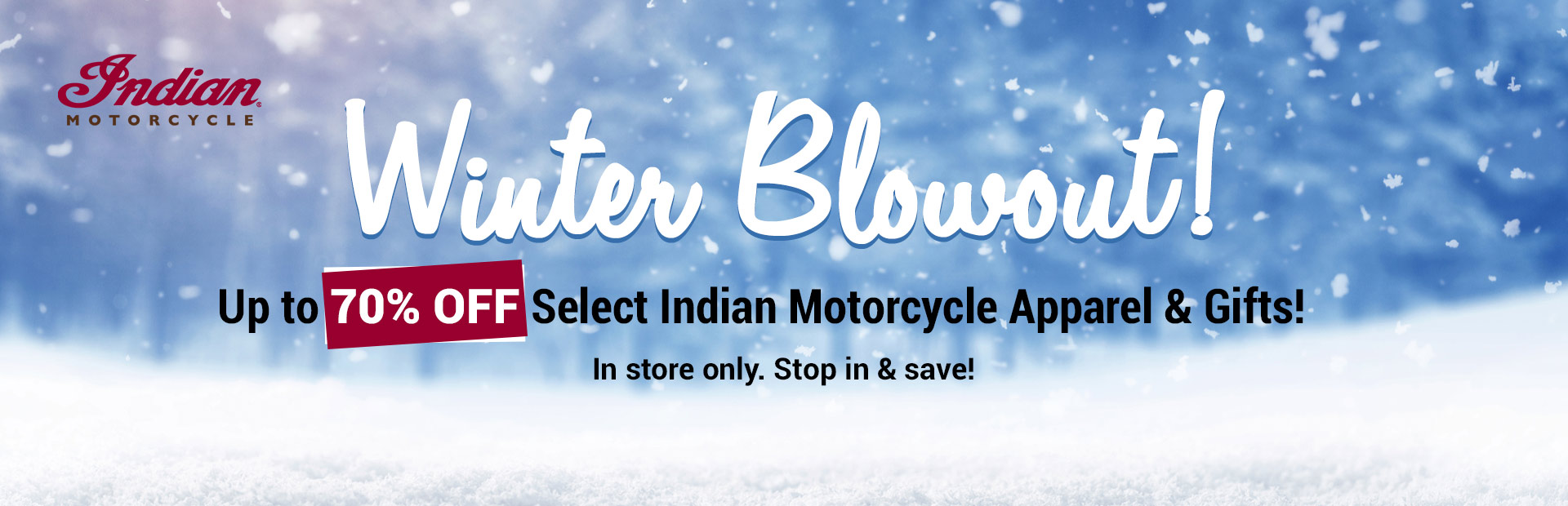 Up to 70% Off Select Indian Motorcycle Apparel & Gifts: Stop in and save now until December 31!