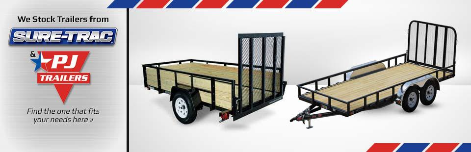 We stock trailers from Sure-Trac and PJ-Trailer. Click here to view our showcase.
