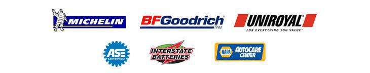 We proudly carry products from Michelin®, BFGoodrich®, Uniroyal®, Interstate Batteries, and NAPA. Our technicians are ASE certified.