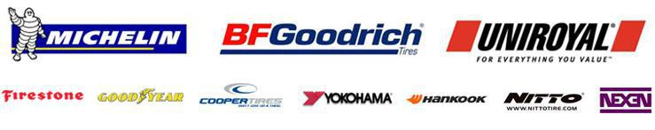 We carry products from Michelin®, BFGoodrich®, Uniroyal®, Firestone, Goodyear, Cooper, Yokohama, Hankook, Nitto, and Nexen.