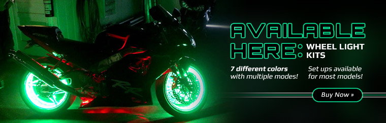 Wheel Light Kits: We have 7 different colors with multiple modes! Click here for details.