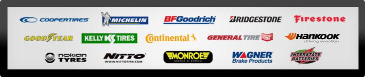 We carry tires from Cooper, Michelin®, BFGoodrich®, Bridgestone, Firestone, Goodyear, Kelly, Continental, General, Hankook, Nokian, Nitto, Monroe, Wagner, and Interstate Batteries.