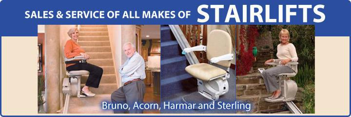 Sales & Service of All Makes of Stair Lifts, Including Bruno, Acorn, Harmar, and Sterling