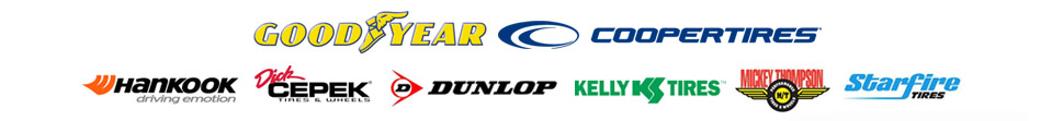 We carry products from Goodyear, Cooper, Hankook, Dick Cepek, Dunlop, Kelly, Mickey Thompson, and Starfire Tires.