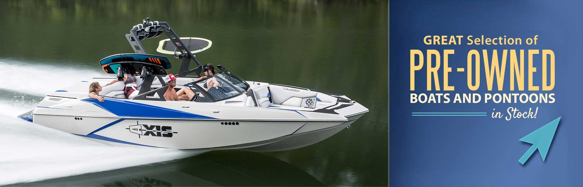 Great Selection of Pre-Owned Boats & Pontoons in Stock: Click here to view the models.