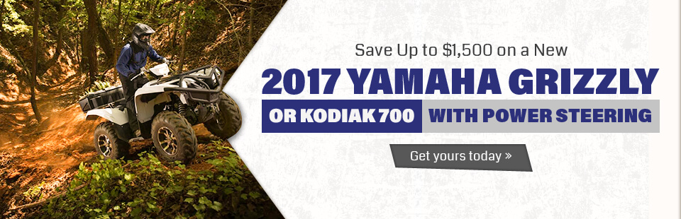 Save up to $1,500 on a new 2017 Yamaha Grizzly or Kodiak 700 with power steering!