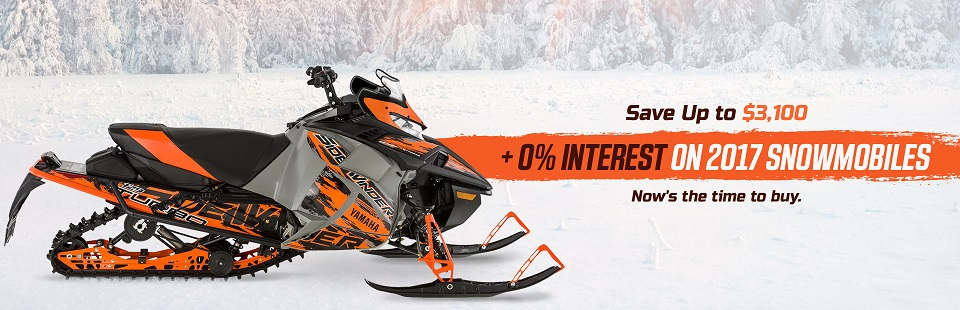 Save up to $3,100, plus get 0% interest on 2017 snowmobiles! Now's the time to buy.