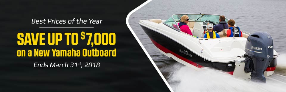 Best Prices of the Year: Save up to $7,000 on a new Yamaha outboard! This offer ends March 31st, 2018.