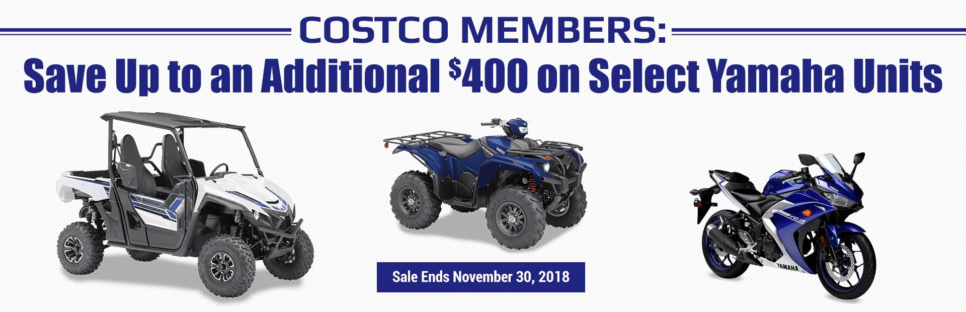 Costco Members: Save up to an additional $400 on select Yamaha units! This sale ends November 30, 2018.