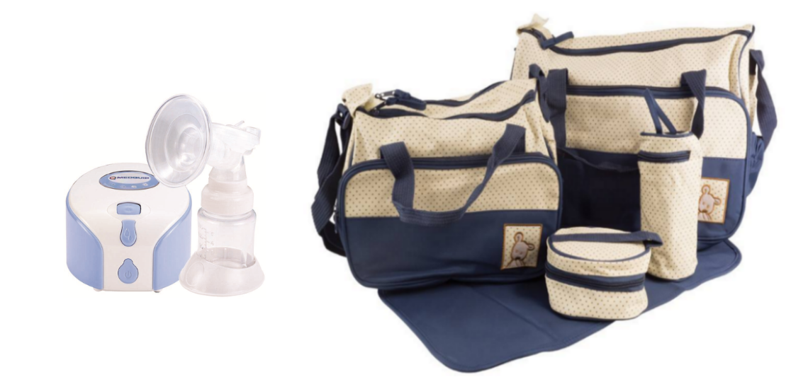 A single channel breast pump and a breast pump carry bag set