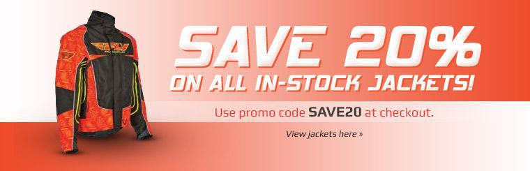 Save 20% on all in-stock jackets! Use promo code SAVE20 at checkout.