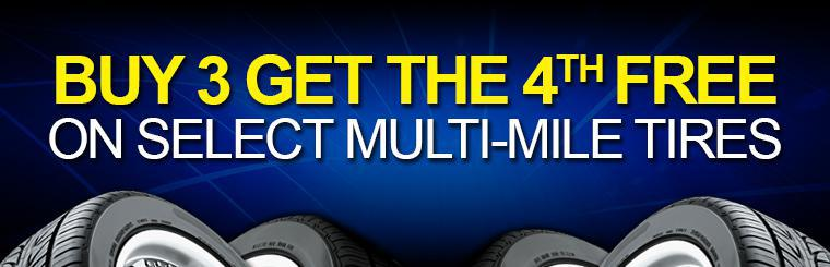 Buy 3 Get 1 Free on Select Multi-Mile Tires
