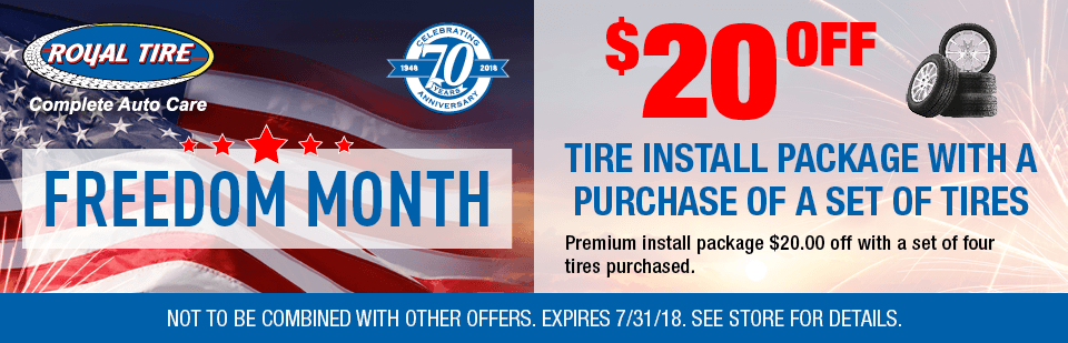 $20.00 off Tire Install Package with a purchase of a set of tires