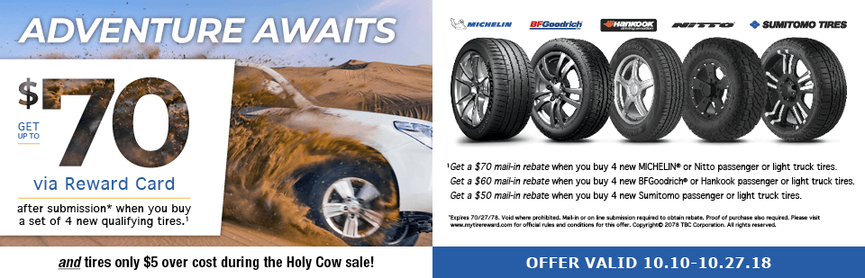 Rebates up to $70 on Michelin, BF Goodrich and More!