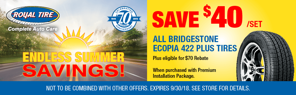 Save $40/set all Bridgestone Ecopia 422+ Tires