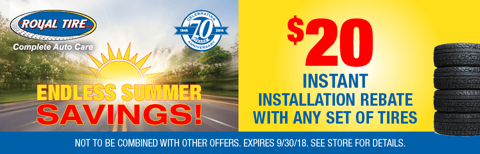 $20 Instant Installation Rebate with Any Set of Tires