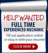 Help Wanted: Full Time Experienced Mechanic.  Click here to fill out application online or stop in with your resume!