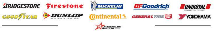 We carry products from Bridgestone, Firestone, Michelin®, BFGoodrich®, Uniroyal®, Goodyear, Dunlop, Continental, General, Yokohama, and American Racing Wheels.