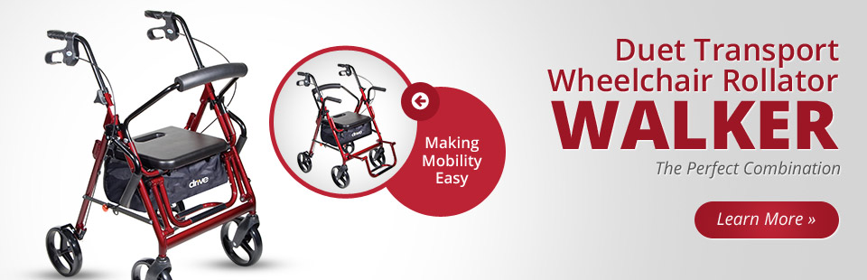 Drive Duet Transport Wheelchair Rollator Walker: Click here to learn more.