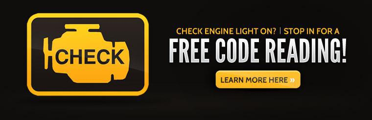 Is your check engine light on? Stop in for a free code reading! Click here to learn more.