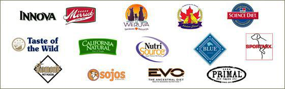 Innova, Merrick, Weruva, Holistic Blend, Science Diet, Taste of the Wild, California Natural, Sojos, Blue Buffalo, Sport Mix, EVO Ancestral, Diamond Pet Foods, Primal Pet Foods Inc, and NutriSource.