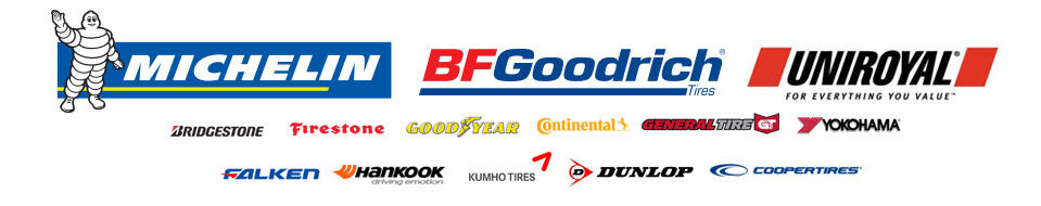 We carry products from Michelin®, BFGoodrich®, Uniroyal®, Goodyear, Bridgestone, Firestone, Continental, General Tire, Yokohama, Falken, Hankook, Kumho, Dunlop, and Cooper.