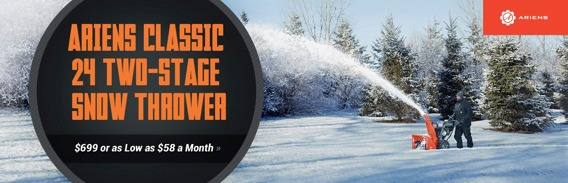 Ariens Classic 24 Two-Stage Snow Thrower: Get yours for $699 or as low as $58 a month!