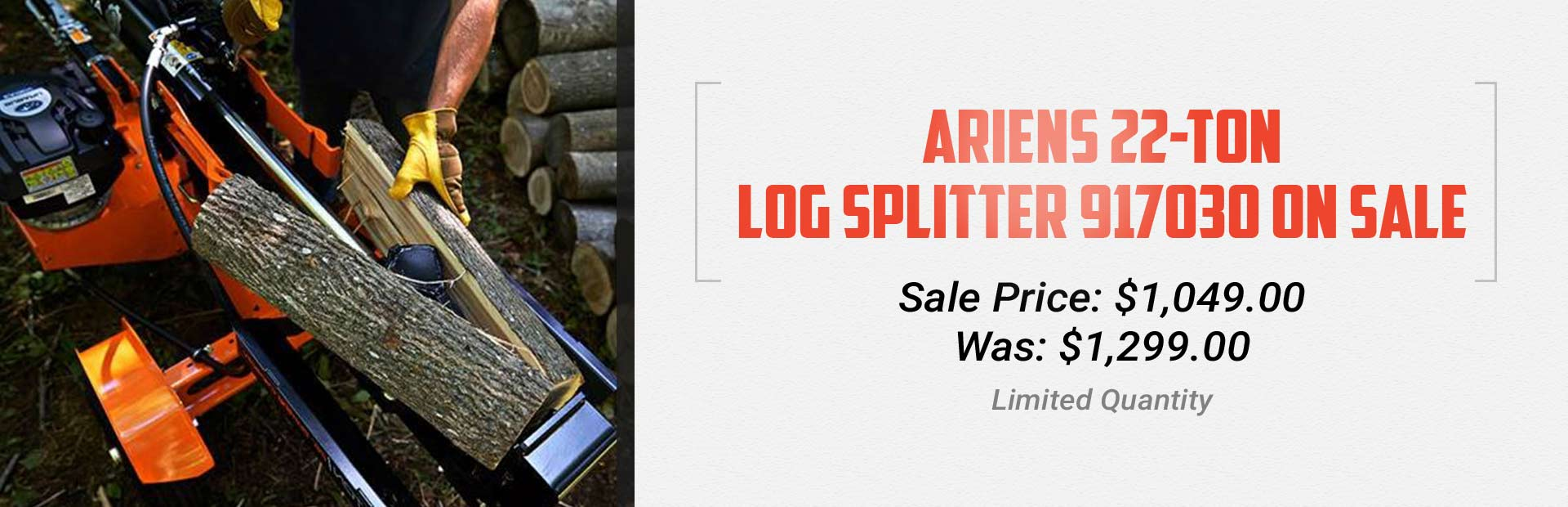 Ariens 22-Ton Log Splitter 917030 on Sale: Click here for details.