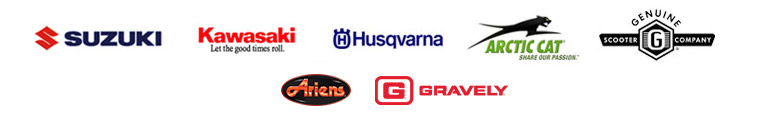 We proudly carry products from Suzuki, Kawasaki, Husqvarna, Arctic Cat, Genuine, Ariens, and Gravely.