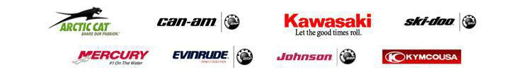 We proudly carry products from Arctic Cat, Can-Am, Kawasaki, Ski-Doo, Mercury, Evinrude, Johnson, and Kymco.