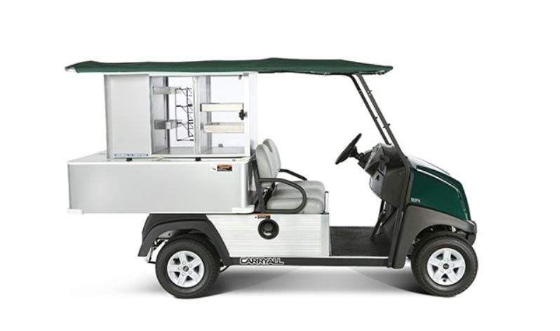 An example of a vendor golf cart model in green.
