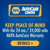 Napa AutoCare Center. Keep Peace of Mind. With the 24 mo./ 24,000 mile NAPA AutoCare Warranty. Details.