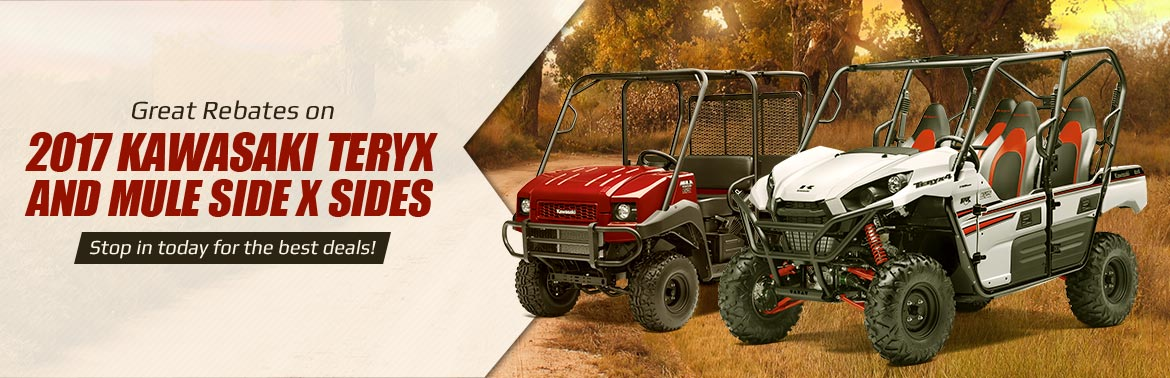 Great Rebates on 2017 Kawasaki Teryx and Mule Side x Sides: Stop in today for the best deals!