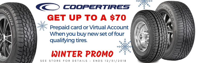 Get up to $70 on Cooper Tires prepaid card or virtual account when you buy four qualifying tires.