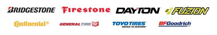 We carry products from Bridgestone, Firestone, Dayton, Fuzion, Continental, General, Toyo, and BFGoodrich®.