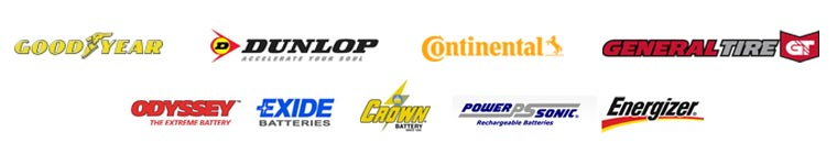 We carry products by Goodyear, Dunlop, Continental, General, Odyssey Battery, Exide Batteries, Crown Battery, Power-sonic Battery, and Energizer Battery.