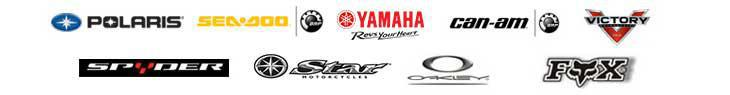 We proudly offer products by Polaris, Sea-Doo, Yamaha, Can-Am, Victory, Spyder, Yamaha Star, Oakley, and Fox Racing.