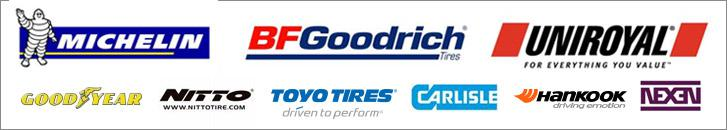 We carry products from Michelin®, BFGoodrich®, Uniroyal®, Goodyear, Nitto, Toyo, Carlisle, Hankook, and Nexen.