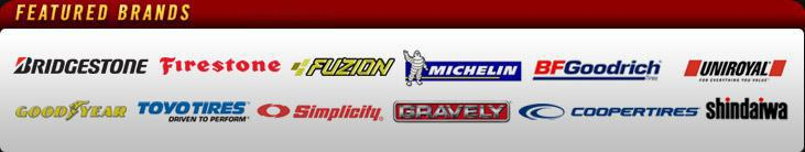 We proudly carry products from Bridgestone, Firestone, Fuzion, Michelin®, BFGoodrich®, Uniroyal®, Goodyear, Toyo, Simplicity, Gravely, Cooper, and Shindaiwa.