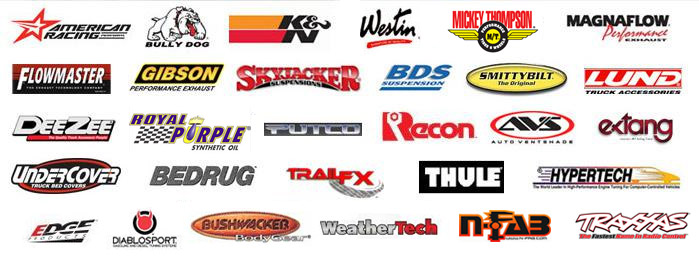 We carry accessories by American Racing, Bully Dog, K&N, Westin, Pro Comp, Mickey Thompson, and many more.