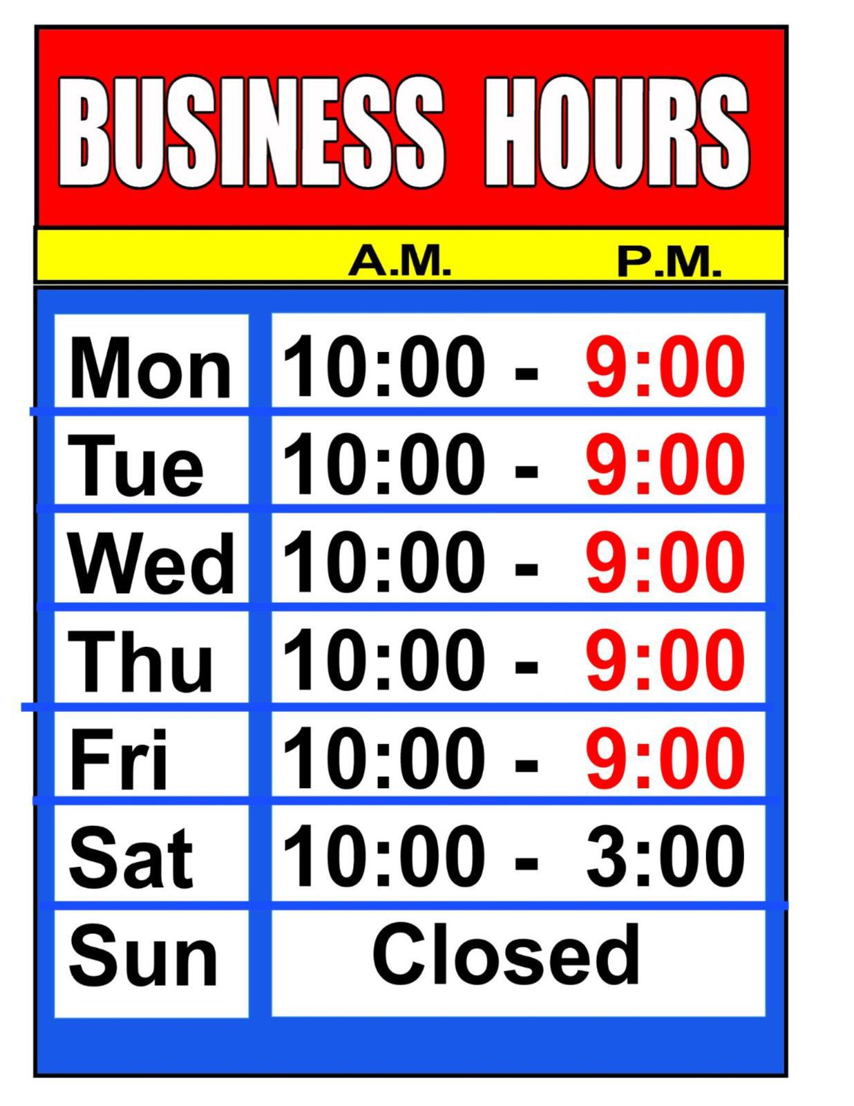 NEW HOURS TILL 9PM