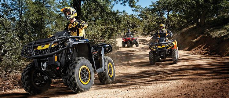 Can-Am ATVs riding a Wisconsin trail