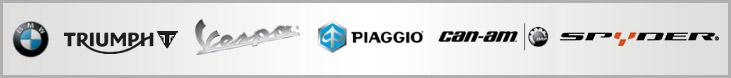 We carry products from BMW, Triumph, Vespa, Piaggio, Can-Am, and Spyder.