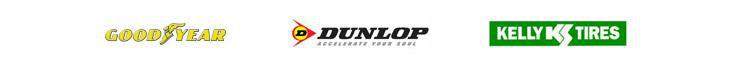 We carry tires from Goodyear, Kelly, and Dunlop.