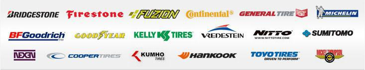 We carry products from Bridgestone, Firestone, Fuzion, Continental, General, Michelin®, BFGoodrich®, Goodyear, Kelly, Vredestein, Nitto, Sumitomo, Nexen, Cooper, Kumho, Hankook, Toyo, and Mickey Thompson.