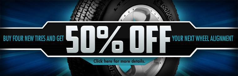 Buy four new tires and get 50% off your next wheel alignment with this coupon. Click here here for more information.
