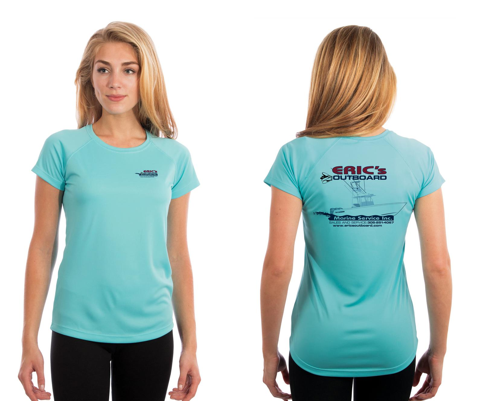 Water Blue Ladies Short Sleeve Performance Shirt