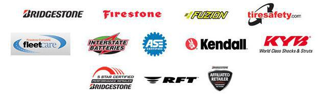 We carry products from Bridgestone, Firestone, Fuzion, Interstate Batteries, Kendall, KYB, and RFT. We are affiliated with tiresafety.com and FleetCare. We are ASE-Certified. We are Bridgestone 5 Star Certified and a Bridgestonet Affiliated Retailer.