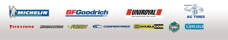 We carry products from Michelin®, BFGoodrich®, Uniroyal®, Michelin® Ag, Firestone, Bridgestone, Fuzion, Cooper, Double Coin, Michelin® Retread Technologies, and Carlisle.